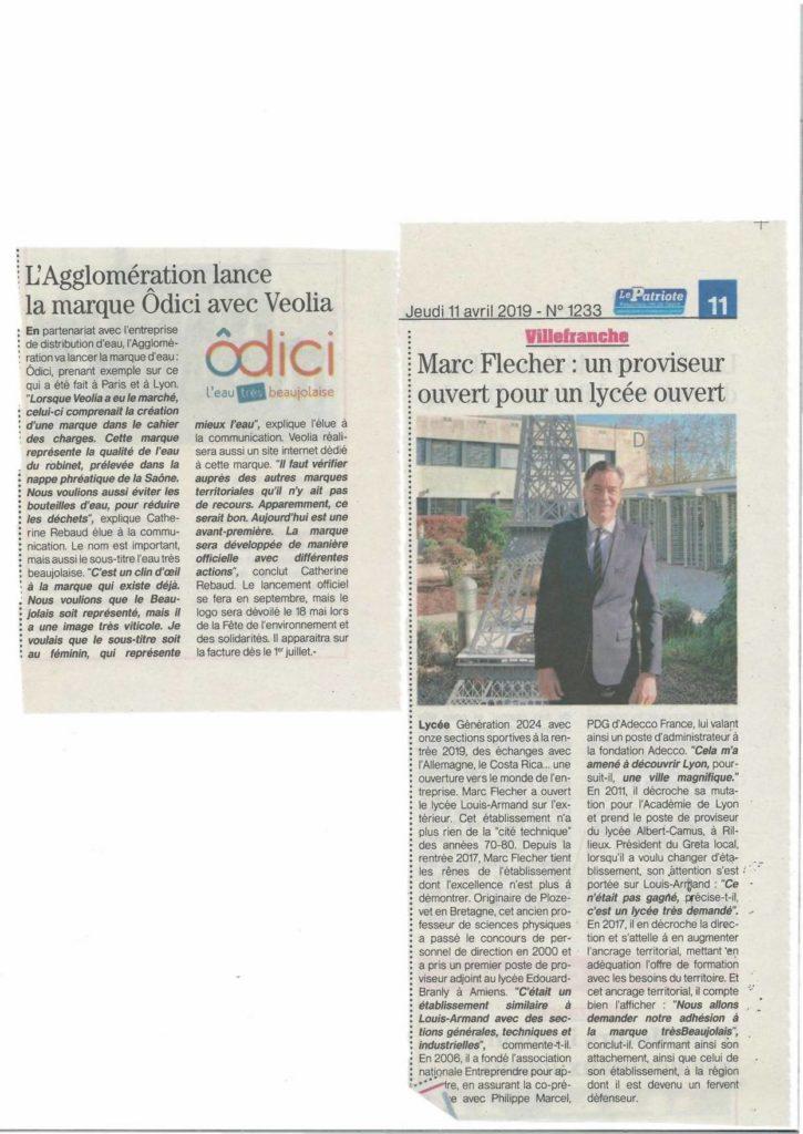 Merci au Lycée Louis Armand - Officiel et à Agglo Villefranche Beaujolais Saône qui s'engagent avec nous