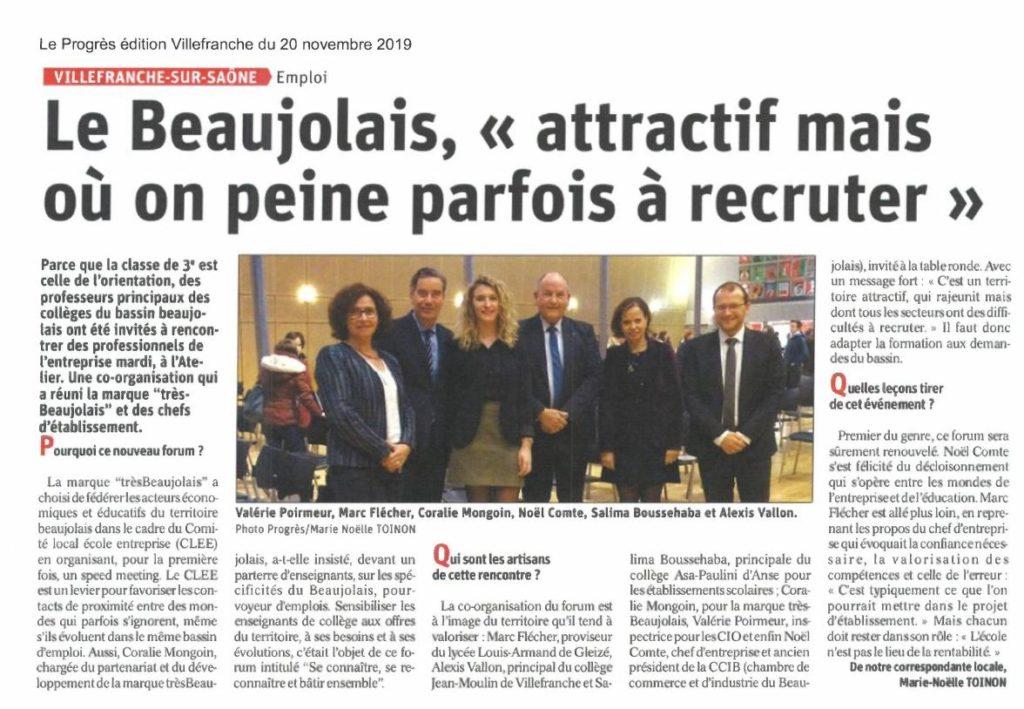Article de presse trèsBeaujolais du 20 novembre 2019